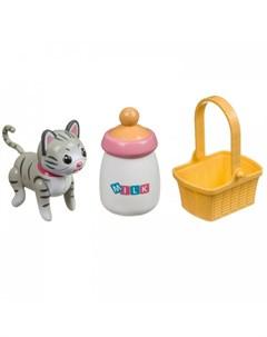 Интерактивная игрушка Кошечка с бутылочкой и корзинкой Bondibon