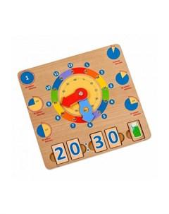 Развивающая игрушка Бизиборд Учим время Игрушки из дерева