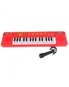 Музыкальный инструмент Электропианино с микрофоном 14 песен караоке Умка