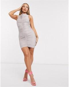 Розовое платье мини с высоким воротом Ax paris