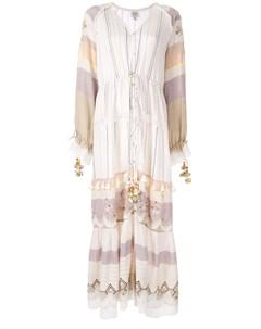 Платье макси с вышивкой и кисточками Hemant & nandita