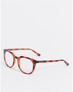 Коричневые очки в круглой оправе черепаховой расцветки Quay australia
