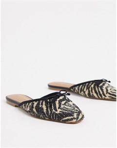 Балетки мюли с принтом зебра Who what wear