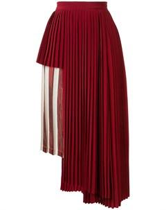юбка в полоску с плиссированной вставкой Maison mihara yasuhiro