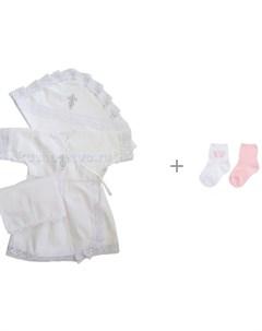 Крестильный набор для девочки с 2 мя парами носков Playtoday Флоранс 188834 Папитто