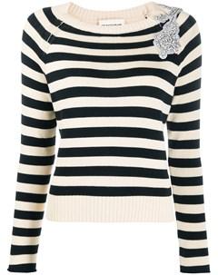 декорированный пуловер в полоску Semicouture