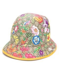 шляпа федора с узором Flora и логотипом GG Gucci