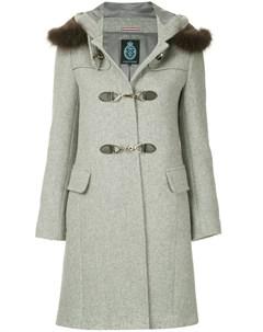 двубортное пальто с капюшоном с меховой оторочкой Guild prime