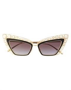 Солнцезащитные очки в оправе кошачий глаз с жемчугом Dolce & gabbana eyewear