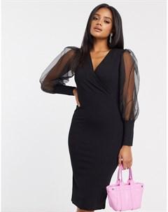 Черное платье миди с пышными рукавами из органзы Ax paris
