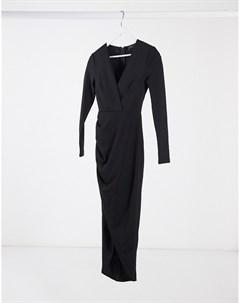 Черное платье мидакси с глубоким вырезом и запахом Ax paris
