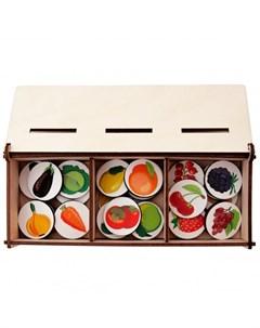 Деревянная игрушка Сортер на три ящика Фрукты Овощи Ягоды Сибирские игрушки
