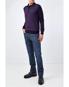 Джемпер поло с контрастной отделкой из шелка и шерсти Bertolo cashmere