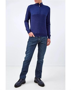 Джемпер из шерсти и шелка с фактурным ромбическим узором Bertolo cashmere