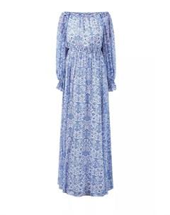 Шелковое платье в пол с флористическим принтом Alexander terekhov