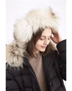 Шапка ушанка из кашемира с мехом арктической лисицы Inverni