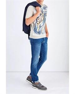Поло из хлопка и шелка с фирменным акварельным принтом Bertolo cashmere