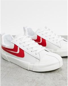 Белые красные низкие кроссовки Joshua sanders