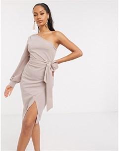 Бежевое платье мини с одним рукавом Ax paris