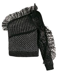 Топ на одно плечо со вставкой из тюля Alberta ferretti