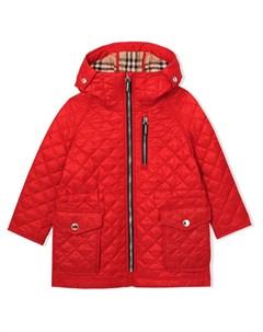 стеганое пальто с капюшоном Burberry kids