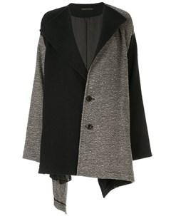 Пальто в стиле колор блок с V образным вырезом Y's