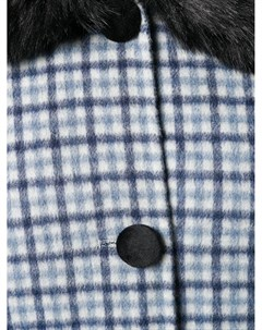 Пальто в клетку со вставкой из искусственного меха Charlotte simone