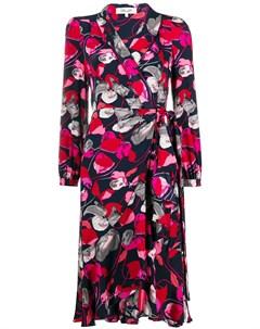 Платье с запахом и цветочным принтом Dvf diane von furstenberg
