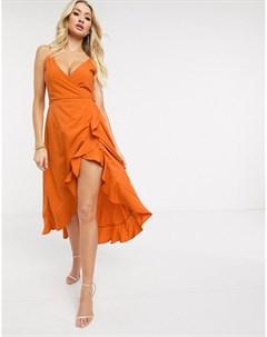 Оранжевое платье миди на бретельках Ax paris
