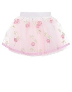 Розовая юбка с вышивками детская Monnalisa