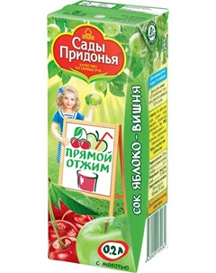 Сок яблоко вишня с мякотью 200мл Сады придонья