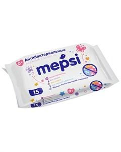 Салфетки влажные антибактериальные 15шт Mepsi