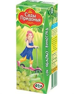 Сок яблоко виноград осветленный 200мл Сады придонья
