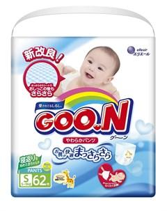 Японские подгузники трусики Goon S 5 9кг 62шт