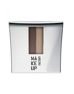 Тени пудра для бровей Коричневый какао светлый миндаль Make up factory