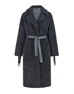 Черное пальто из овчины Blancha