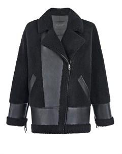 Черная куртка из овчины с отделкой бахромой Blancha
