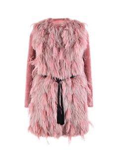 Розовое пальто с отделкой перьями Blancha