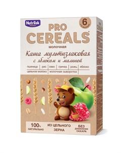 Каша мультизлаковая с яблоком и малиной Premium Pro Cereals цельнозерновая молочная 200гр Nutrilak