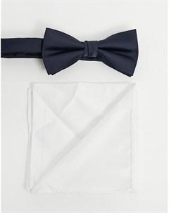 Темно синий белый платок для нагрудного кармана и галстук бабочка Jack & jones