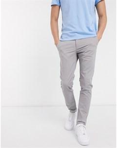 Серые брюки чиносы скинни New look