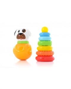 Развивающая игрушка Набор 2 неваляшка и пирамидка Knopa
