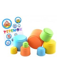 Развивающая игрушка Мягкая пирамидка стаканчики с наклейками Теремок Knopa