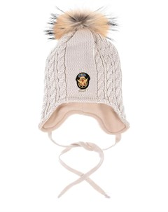 Бежевая шапка фактурной вязки детская Il trenino