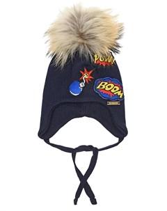 Синяя шапка с завязками и нашивками детская Il trenino