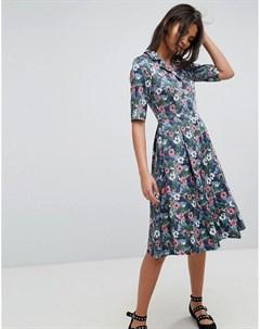 Платье с цветочным принтом и пуговицами Uttam boutique