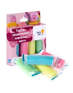 Набор для детской лепки Тесто пластилин Зефирные цвета 4 цвета Genio kids-art