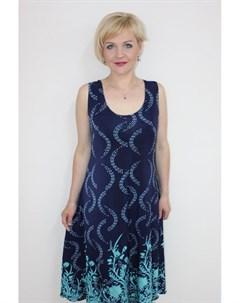 Платье трикотажное Либби бирюзовые цветы Инсантрик