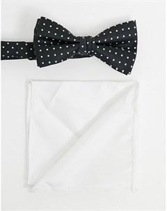 Галстук бабочка и платок для нагрудного кармана в горошек Jack & jones