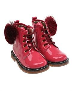 Высокие розовые ботинки с помпоном детские Monnalisa